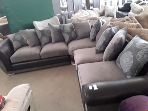 Lot 351 DESIGNER BLACK FAUX LEATHER AND GREY FABRIC CORNER SOFA WITH SCATTER BACK CUSHIONS