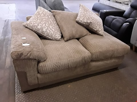 Lot 7 DESIGNER BROWN JUMBO CHORD TWO SEATER SECTION WITH SCATTER CUSHIONS