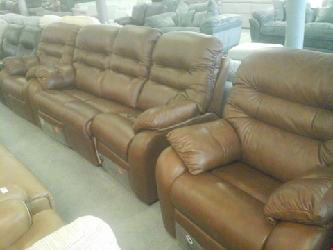 Lot 25 QUALITY BRITISH MADE HARDWOOD FRAMED BROWN LEATHER 3 SEATER ELECTRIC RECLINER SOFA , BROWN LEATHER ELECTRIC RECLINER ARMCHAIR AND BROWN LEATHER RECLINER ARMCHAIR