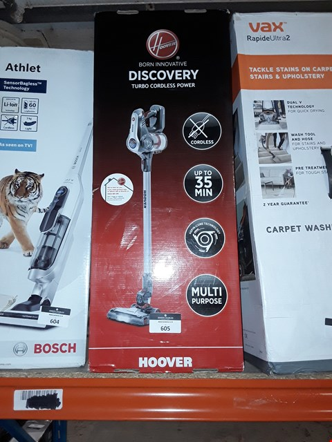 Lot 605 HOOVER DISCOVERY TURBO CORDLESS VACUUM
