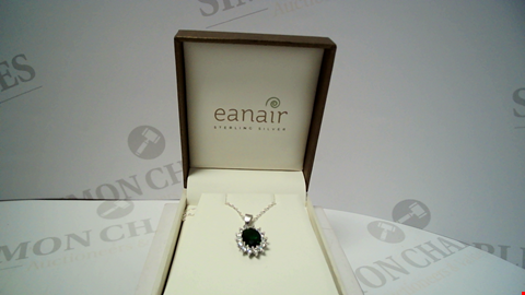 Lot 18069 DESIGNER SILVER TONE NECKLACE AND PENDANT WITH GREEN STONE