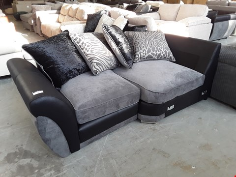 Lot 70 TWO DESIGNER BLACK FAUX LEATHER AND GREY FABRIC SOFA SECTIONS WITH SCATTER BACK CUSHIONS