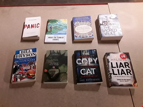 Lot 473 LOT OF APPROXIMATELY 8 ASSORTED BOOKS TO INCLUDE THE COPY CAT BY JAKE WOODHOUSE, NOTES FROM A BIG COUNTRY BY BILL BRYSON, THE GOD OF SMALL THINGS BY ARUNDHATI ROY ETC