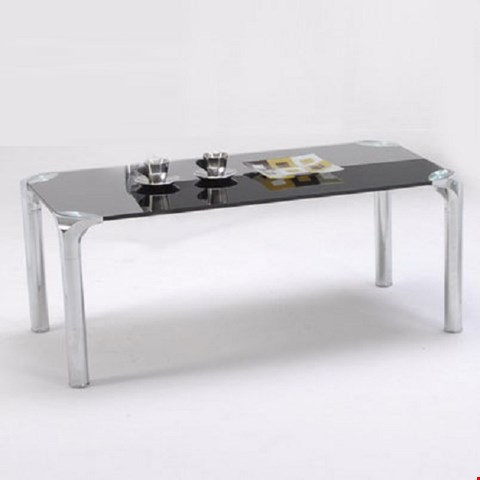 Lot 6074 VALUE MARK POLAR COFFEE TABLE CHROME WITH BLACK GLASS (2 BOXES)