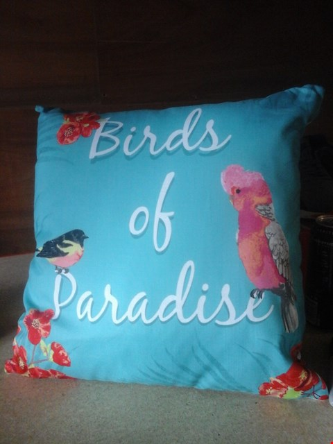 Lot 4038 4 BOXES OF BIRDS OF PARADISE CUSHIONS (4 IN A BOX) IN TEAL