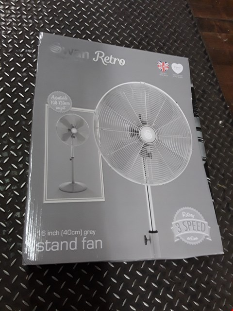 Lot 3276 BRAND NEW SWAN RETRO 40CM ADJUSTABLE STAND FAN - GREY RRP £79.99