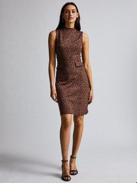 Lot 7013 BRAND NEW DOROTHY PERKINS ANIMAL SLEEVELESS HIGH NECK MIDI DRESS - BROWN - SIZE 8