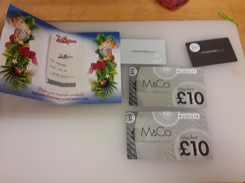 Lot 50 5 ASSORTED GIFT VOUCHERS TO INCLUDE M&CO, THE MEADOW HALL AND JOE BROWNS TOTAL VALUE £95
