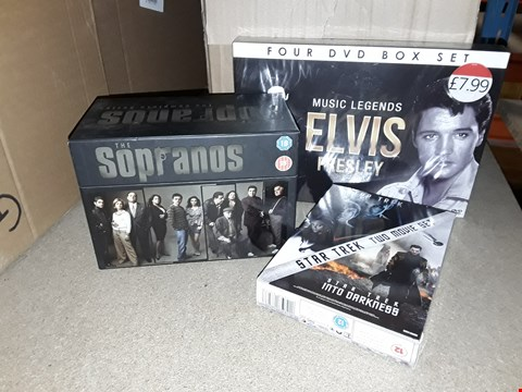 Lot 4096 JOBOB LOT OF ASSORTED DVD BOXSETS AND GAMES TO INCLUDE ELVIS, THE SOPRANOS, STAR TREK (4 BOXES)