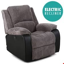 Lot 93 BOXED DESIGNER POSTANA POWER RISE & RECLINE GREY JUMBO CHORD & FAUX LEATHER EASY CHAIR RRP £399.99