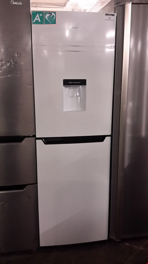 Lot 59 HISENSE WHITE FRIDGE FREEZER WITH WATER DISPENSER RB320D4WW1 RRP £249