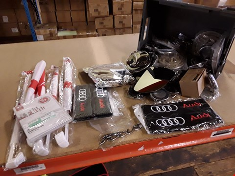 Lot 3028 BOX ASSORTED CAR WHEL CENTRE BADGES, ENGLAND CAR FLAGS, NISSAN EUROPE MAP, MIRROR GLASS, AUDI SEAT BELT PADS, LED LIGHTS, BADGES,