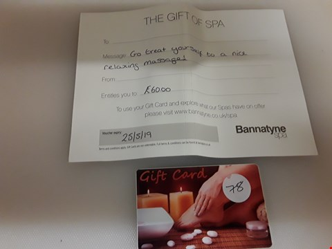 Lot 44 BANNATYNE GIFT VOUCHER AND ABS..OLUTE BEAUTY SPA GIFT CARD TOTAL VALUE £138