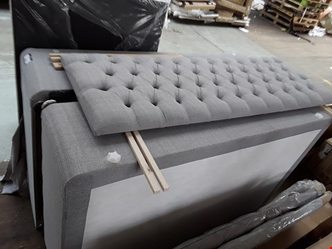 Lot 2158 GREY FABRIC DRAWERED DOUBLE DIVAN BASE WITH HEADBORD