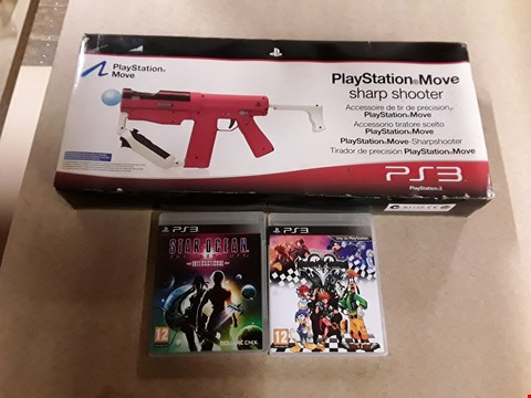 Lot 6146 LOT OF 3 ASSORTED PS3 ITEMS TO INCLUDE STAR OCEAN THE LAST HOPE, KINGDOM HEARTS HD 1.5 REMIX AND A PLAYSTATION MOVE SHARP SHOOTER ETC