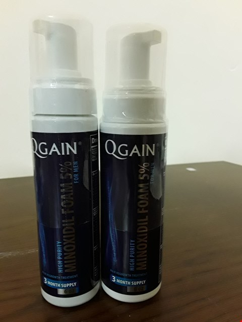 Lot 8033 LOT OF 2 QGAIN 6OZ MINOXIDIL 5% FOAM HAIR REGROWTH TREATMENTS