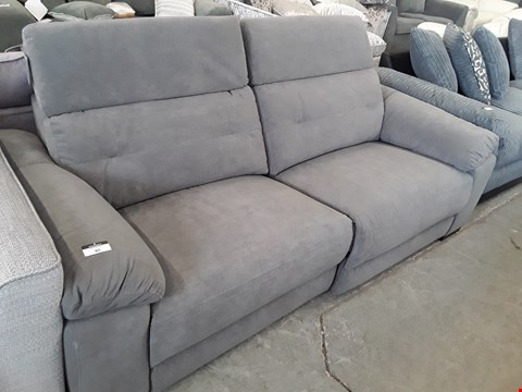 Lot 80 DESIGNER BOWEN GREY FABRIC POWER RECLINING THREE SEATER SOFA WITH ADJUSTABLE HEADRESTS