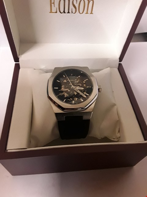 Lot 134 BRAND NEW, DESIGNER MEN'S AUTOMATIC EDISON SKELETON DIAL OCTAGON BEZEL WATCH, SILVER COLOURED CASE AND BLACK LEATHER STRAP. RRP £600.00