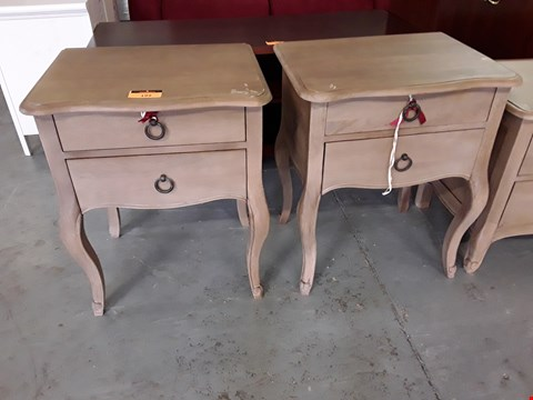Lot 199 PAIR NATURAL FINISH PERIOD STYLE BEDSIDE CHESTS OF 2 DRAWERS ON CABRIOLE LEGS