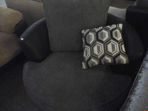 Lot 68 DESIGNER CORDED GREY FABRIC SWIVEL CHAIR WITH CUSHIONS