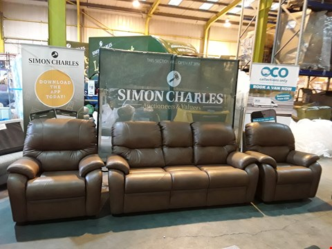 Lot 9008 QUALITY BRITISH MADE HARDWOOD FRAMED BROWN LEATHER THREE PIECE SUITE CONSISTING OF A THREE SEATER FIXED FRAME SOFA AND TWO FIXED FRAME ARMCHAIRS