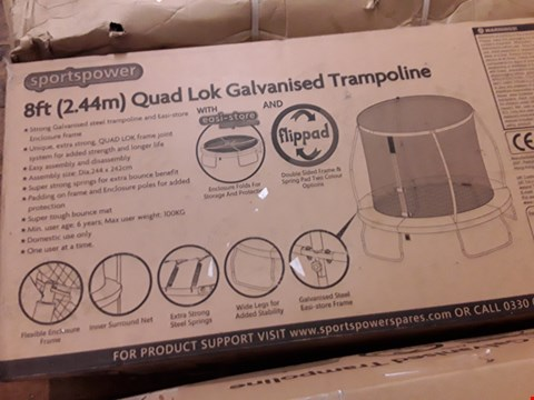 Lot 195 BOXED 8' QUAD LOCK GALVANISED TRAMPOLINE WITH DAFETY ENCLOSURE