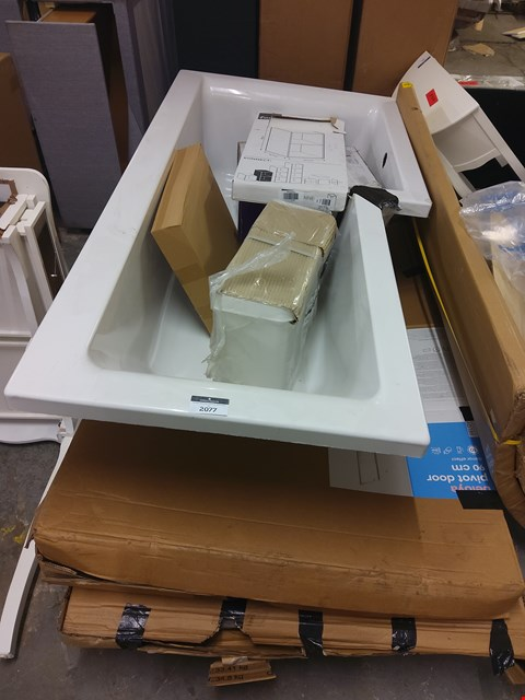 Lot 2077 PALLET OF 6 ASSORTED ITEMS TO INCLUDE: FIRM KONNECT UNIT, L SHAPED BATH, CISTERN