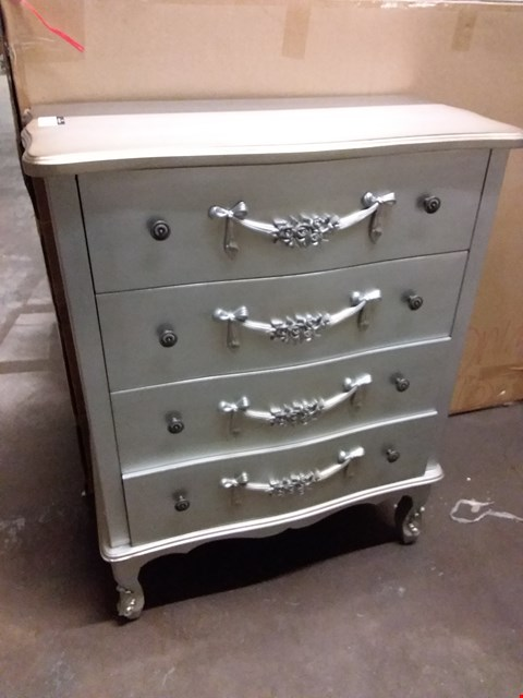 Lot 17280 DESIGNER GREY PAINTED ORNATE 4 DRAWER WOODEN CHEST