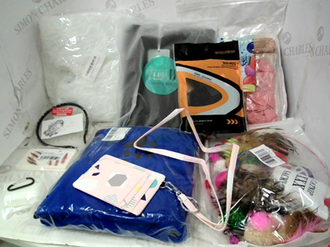 Lot 10188 LOT OF A SIGNIFICANT QUANTITY OF ASSORTED HOUSEHOLD ITEMS, TO INCLUDE CAT TOY ACCESSORY SET, DOG DRYING TOWEL, IWILL AMX SUIT BAG, ETC