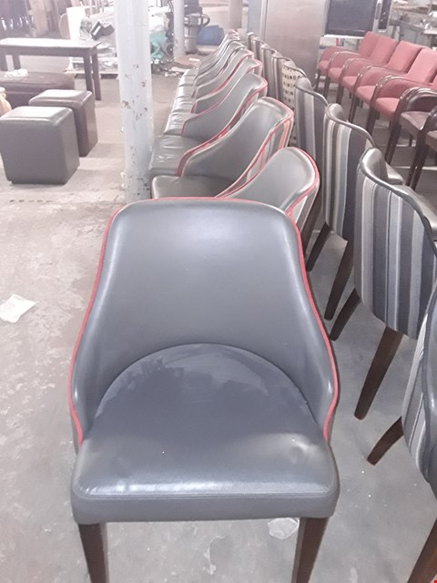 Lot 16 APPROXIMATELY 9 GREY LEATHER EFFECT CHAIRS WITH FABRIC BACK
