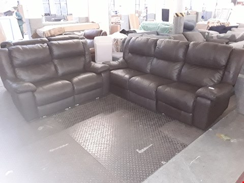 Lot 8 DESIGNER MALPENSA DARK BROWN LEATHER TWO SEATER POWER RECLINING AND THREE SEATER MANUAL RECLINING SOFAS  RRP £2859.98