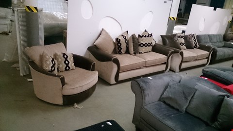 Lot 1201 2 DESIGNER BROWN SUEDE AND BEIGE FABRIC 2 SEATER SOFAS WITH SCATTER CUSHIONS AND SWIVEL CHAIR