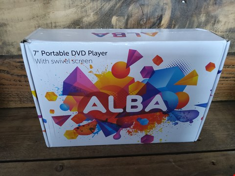 "Lot 42 BOXED ALBA 7"" PORTABLE DVD PLAYER WITH SWIVEL SCREEN"
