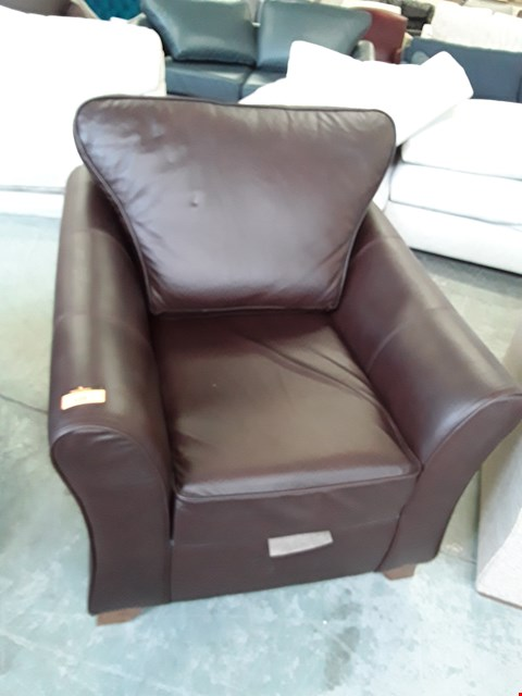 Lot 128 QUALITY BRITISH DESIGNER BROWN LEATHER ARMCHAIR