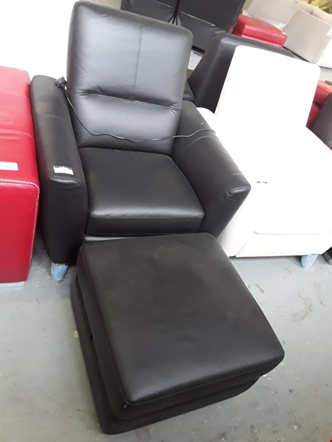 Lot 52 BRAND NEW QUALITY ITALIAN DESIGNER BLACK LEATHER POWER RECLINING ARMCHAIR WITH SQUARE STORAGE FOOTSTOOL