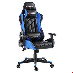 Lot 7009 DESIGNER BOXED GT FORCE PRO GT LEATHER RACING SPORT OFFICE CHAIR BLACK/BLUE