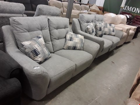 Lot 12517 QUALITY BRITISH MADE, HARDWOOD FRAMED GREY FABRIC POWER RECLINING 2 SEATER SOFA AND FIXED 2 SEATER SOFA