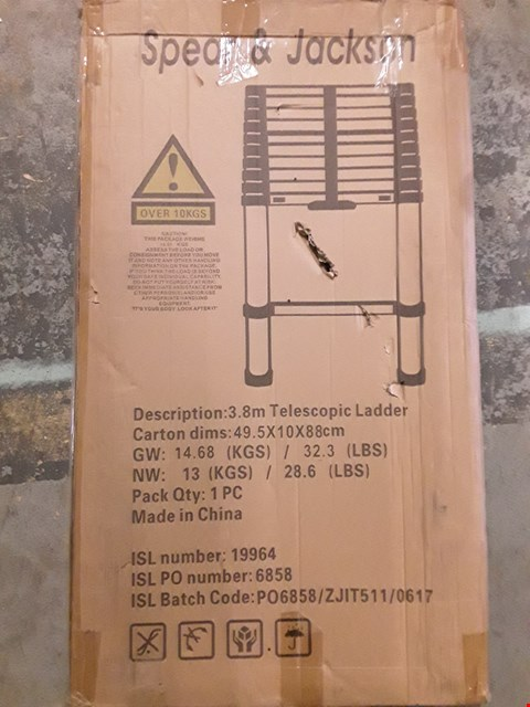 Lot 7578 BOXED SPEAR & JACKSON 3.8M TELESCOPIC LADDER
