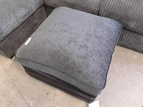 Lot 354 DESIGNER BLACK FAUX LEATHER AND CHARCOAL FABRIC SQUARE FOOTSTOOL