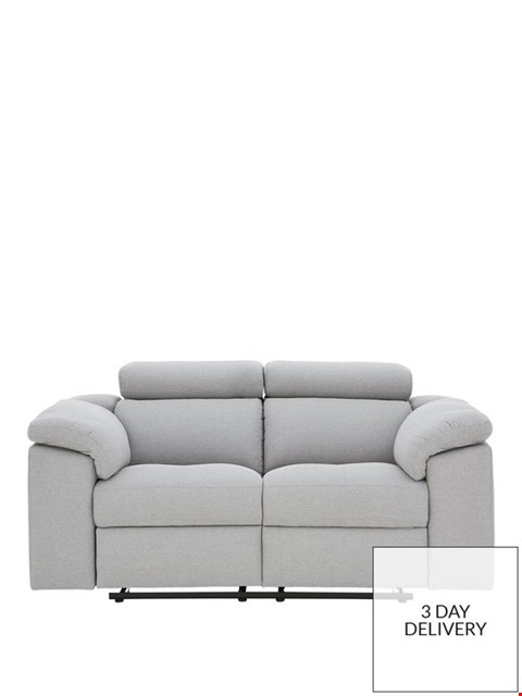 Lot 429 BRAND NEW DESIGNER BRADY GREY FABRIC 2 SEATER MANUAL RECLINING SOFA  RRP £999