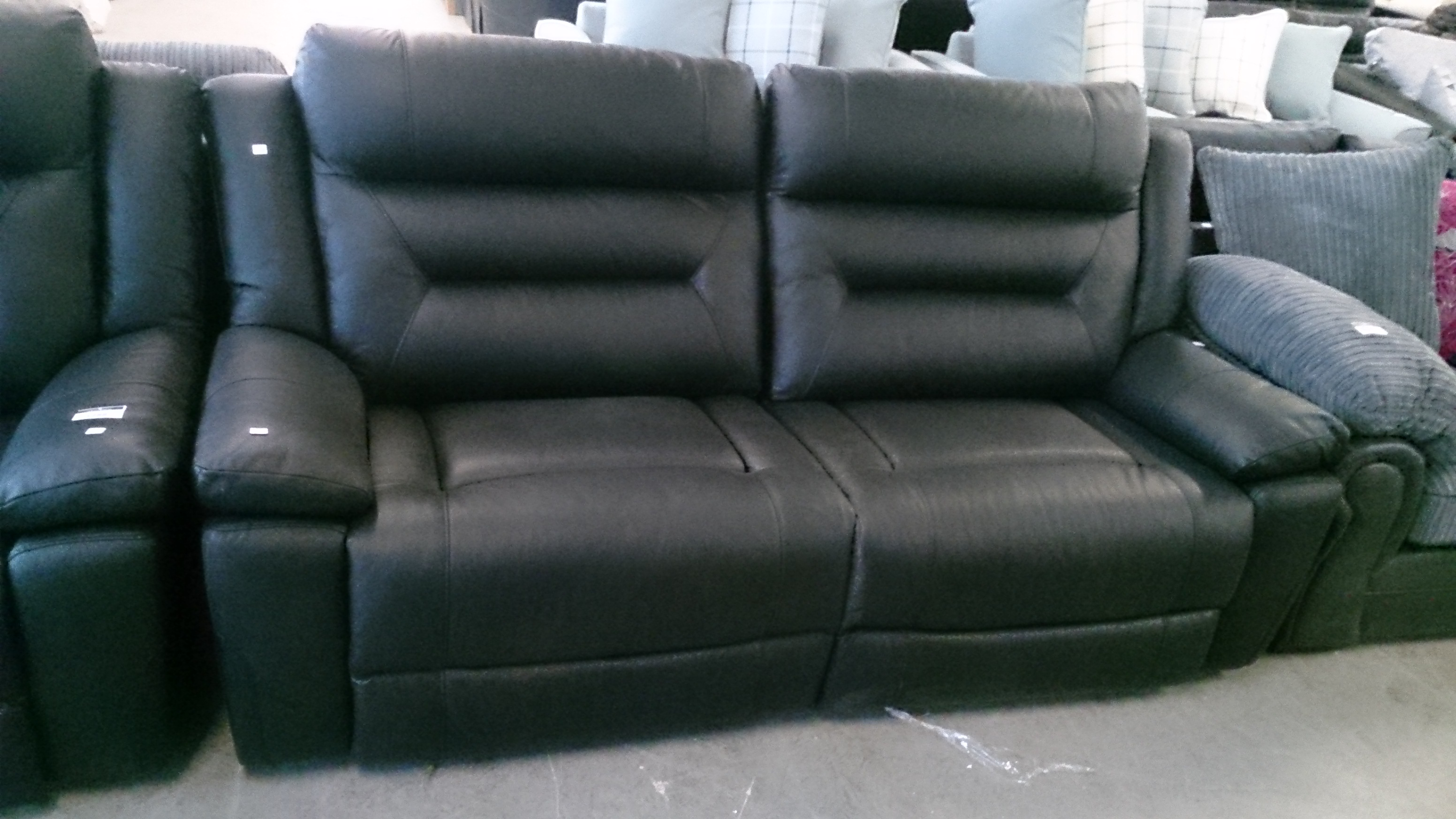 Designer Black Leather Reclining 3 Seater Sofa And Reclining 2 Seater Sofa