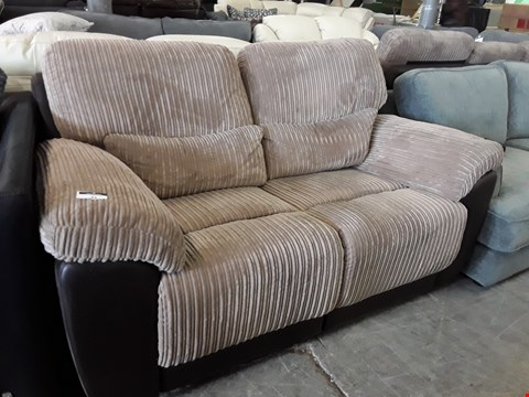 Lot 82 DESIGNER BROWN FAUX LEATHER & JUMBO CHORD MANUAL RECLINING TWO SEATER SOFA