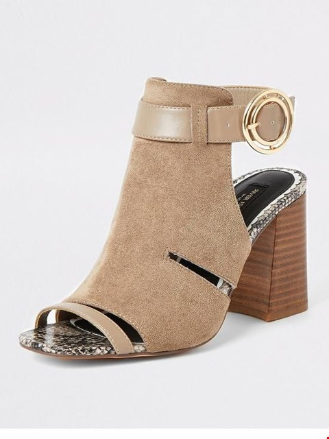 Lot 7332 BRAND NEW RIVER ISLAND WIDE FIT CUT OUT BUCKLE TAUPE SHOE BOOTS - SIZE 7 UK