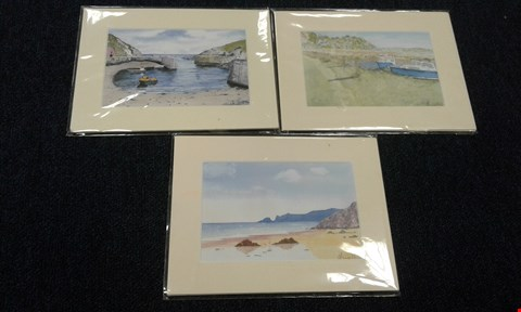 Lot 8230 3 ASSORTED PRINTS TO INCLUDE; 'LAUGHARNE- DYLAN THOMAS'S BOATHOUSE AND SHED', 'SAUNDERSFOOT- GLEN BEACH' AND 'PORTHGAIN' ALL PRINTS FROM AN ORIGINAL WATERCOLOUR PAINTING BY ANNIE HILL