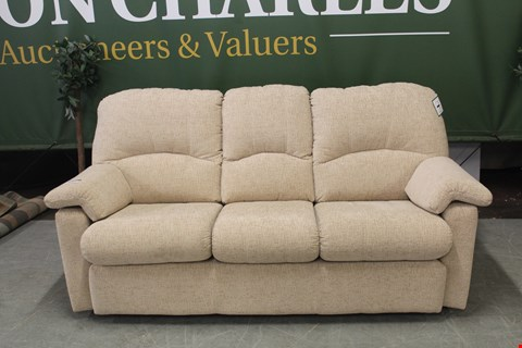 Lot 78 QUALITY BRITISH MANUFACTURED HARDWOOD FRAMED SAND FABRIC FIXED THREE SEATER SOFA