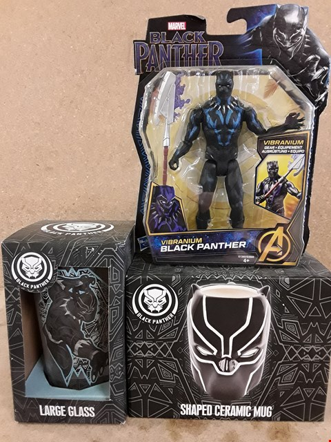 Lot 321 3 BRAND NEW BOXED ITEMS TO INCLUDE BLACK PANTHER FIGURE AND A LARGE GLASS AND SHAPED CERAMIC MUG