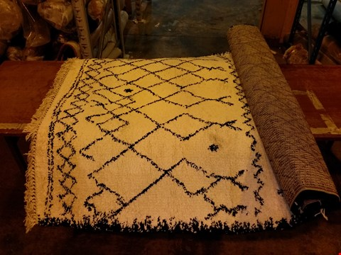 Lot 3026 DESIGNER THINK RUGS BOHO BLACK/WHITE RUG 160X230CM