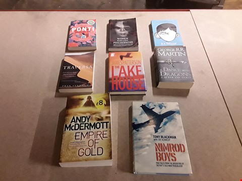 Lot 472 LOT OF APPROXIMATELY 8 ASSORTED BOOKS TO INCLUDE EMPIRE OF GOLD BY ANDY MCDERMOTT, THE LAKE HOUSE BY JAMES PATTERSON, A DANCE WITH DRAGONS PART 2 BY GEORGE R.R. MARTIN ETC