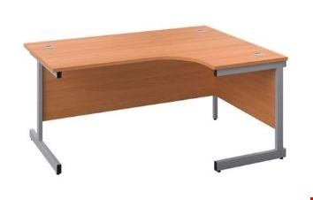 Lot 8001 BRAND NEW BOXED OCTET PLUS RIGHT HAND 1400MM CORE WORKSTATION - BEECH WITH SILVER FRAME REF ZFPC1412(R)