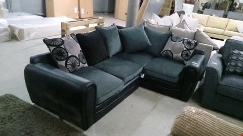 Lot 1231 DESIGNER BLACK SUEDE AND GREY FABRIC CORNER SOFA WITH SCATTER CUSHIONS